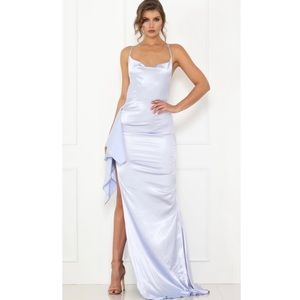 NWT Abyss By Abby Satin Sky Blue Dress
